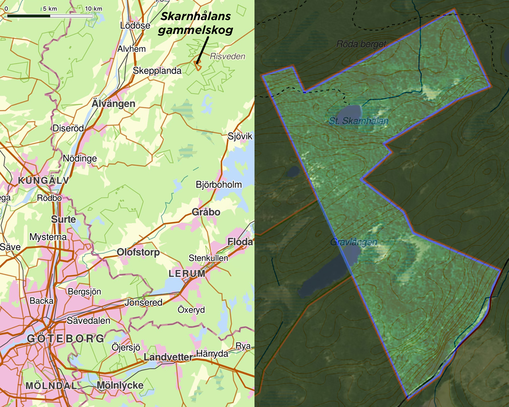 Karta Skarnhålans gammelskog